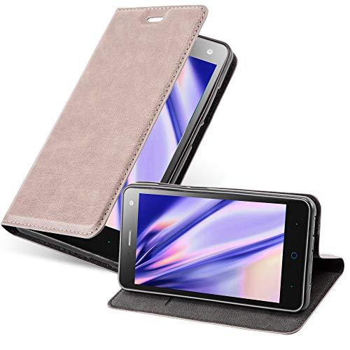 Cadorabo Hülle für ZTE Blade L3 - Hülle in Kaffee BRAUN – Handyhülle mit Magnetverschluss, Standfunktion und Kartenfach - Case Cover Schutzhülle Etui Tasche Book Klapp Style