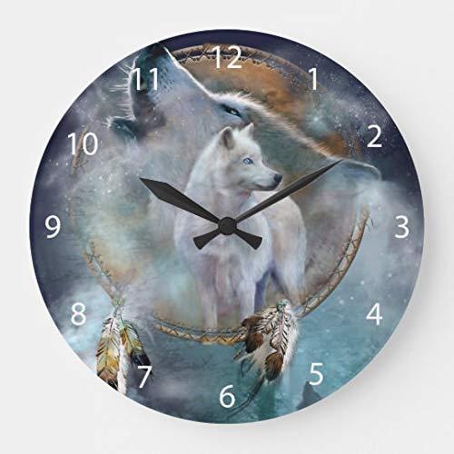 AmyyEden Wolf Traumfänger weiß Wolf Art lustige Wanduhren Deko für Wohnzimmer Küche Schlafzimmer Badezimmer Home Office Decor 30,5 cm