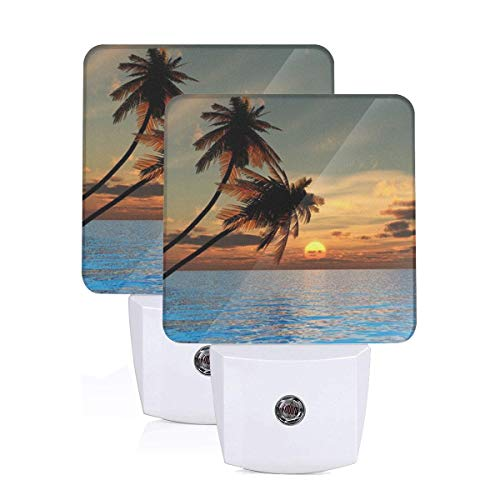 Set of 2 Led Night Lights, Sunset Coconut Palm Tree on Beach Blue Ocean Auto Dusk-to-Dawn Sensor Night Lamp Plug-in Home Decorative for Adult