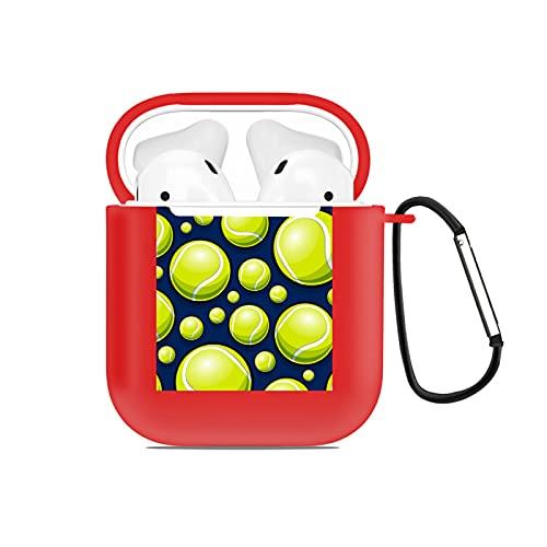 Custodia AirPods per AirPods 2&1,Grafica da tennis su sfondo nero,Custodia protettiva in silicone portachiavi