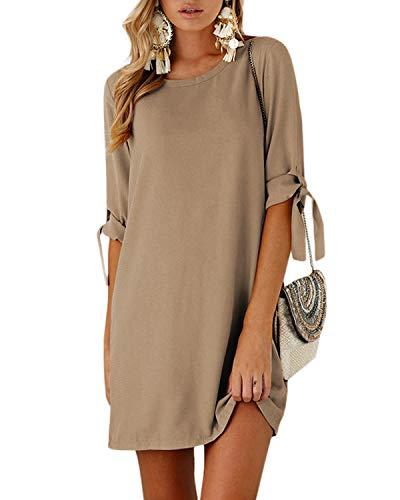 YOINS Sommerkleid Damen Kurz Tshirt Kleid Rundhals Kurzarm Minikleid Kleider Langes Shirt Lose Tunika mit Bowknot Ärmeln ,S,Aktualisierung-khaki