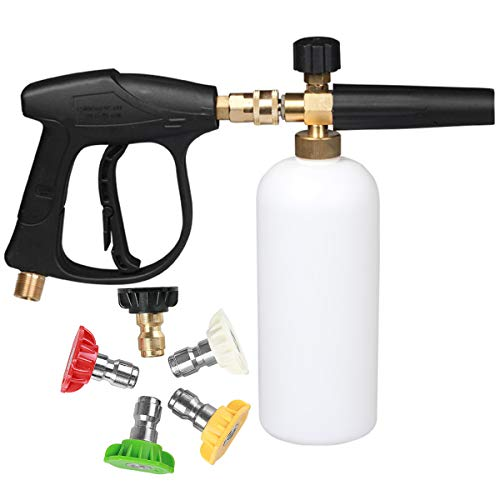 NCONCO High Pressure Washer Gun with 5 Nozzles Foam Lance Bottle Kit for Car Cleaning