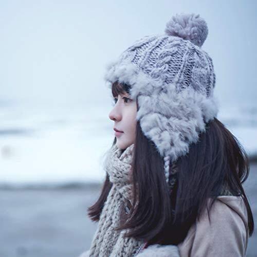 Gorro de lana de invierno seora sombrero Beanie sombrero gorro de punto orejeras trmica otoo y gruesa capa de mltiples funciones de invierno femenina ( Color : Light Grey , Size : L(5860cm) )