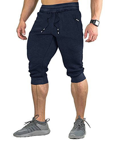 FASKUNOIE Jogger 3 4 for Men Capri Joggers Active Sports Trousers Gym Shorts with Zipper Pockets Navy Blue