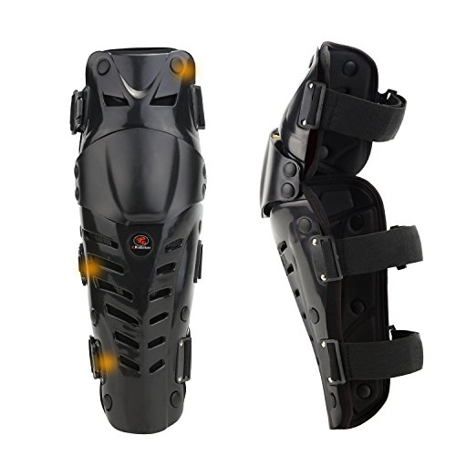 RIDBIKER 1 Pair of Movable Knee Shin Guard Pads Three Sections 2Pcs Breathable Adjustable Knee Cap Pads Protector Armor for Motorcycle Cycling Racing (Black)
