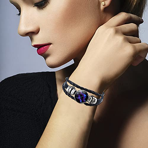 Sternzeichen Seil Armband 12 Konstellation,Sayla Leuchtendes Lederarmband für Damen Herren,Charm Schmuck Accessoires Geschenke,verstellbares Punk Armband geflochten (Schütze, One Size)