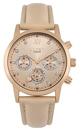 Lipsy Damen Datum klassisch Quarz Uhr mit PU Armband SLP008PRG