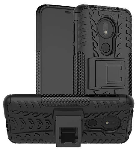 Yiakeng Moto G7 Power Cover, Doppio Strato Silicone Antiurto Far Cadere Protezione con Kickstand Custodia per Motorola Moto G7 Power (Nero)