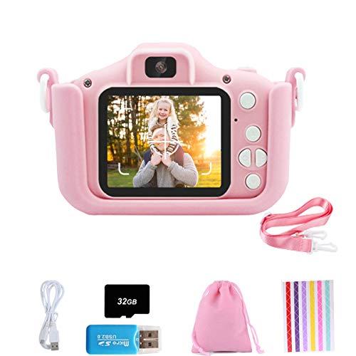 Set de Cámara de Fotos Digital para Niños con Juegos, Cámara Infantil con Tarjeta de Memoria Micro SD 32GB, Cámara Digital Video Cámara Infantil para Niños Regalos deCumpleaños, 1080P (Rosado - Gato)