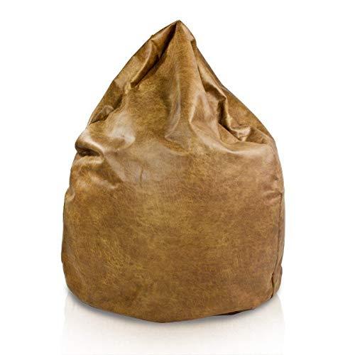 Italpouf - Puf de Piel Natural Sillón Saco de Piel Natural. Puf Gigante de 100 cm de diámetro x 130 cm con Funda extraíble. Puff - Elegante Saco Acolchado Exclusivo puf.