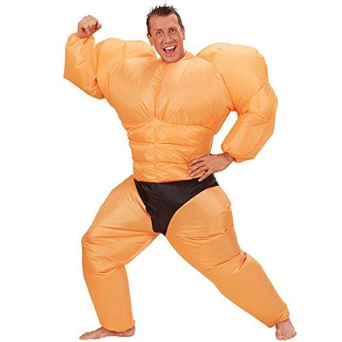 NET TOYS Aufblasbares Muskel Kostüm Ringer Ganzkörperkostüm Ganzkörper Muskelkostüm Sumo Männerballett Boxer Faschingskostüm JGA Party Herrenkostüm