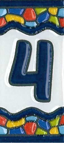 Números de azulejos de casa, números y letras de cerámica españolas, diseño de ventana de iglesia, tamaño del azulejo: 7,5 cm x 3,5 cm, 3 a 10 marcos de azulejos (número 4)