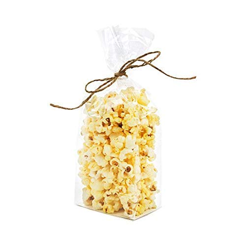 Clear Flat Bottomed Treat Bags w/Paper Insert | 100 Quantity | Size: 3 1/2 x 2 1/4 x 9 3/4 | Best Gusset Bag for Presenting Packaged Treats, Candy, Popcorn | Food Safe Material | FGPB15