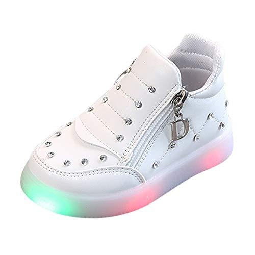 Masoness 💗💗 Strass Doppelreißverschluss LED leuchtenden weichen Boden Sport strahlende Schuhe helle Schuhe Stiefeletten
