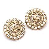 6pcs Botones de la capa de las mujeres del metal dorado de la perla sintética para la ropa C Botones grandes decorativos de la vendimia Accesorios de costura al por mayor-Oro - YDS07,20mm 6pcs