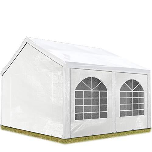 TOOLPORT Hochwertiges Partyzelt 4x4 m Pavillon Zelt 240g/m² PE Plane Gartenzelt Festzelt Wasserdicht weiß