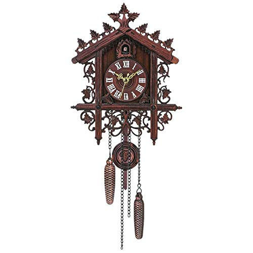 LZLXX Reloj de Cuco Reloj de Bosque Reloj de Abuelo Retro decoración de la Pared Reloj de Cuco de Viento de Moda Vintage, Reloj de Alarma, Reloj de decoración del hogar, Regalo de Fiesta