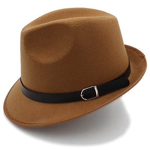 Fang-hats shop Fang-hats shop, Fedora-Hut, für Damen, britischer Stil, Fedora-Hut, für Herren, Herbst, Winter, lässig, Trilby-Hüte, lässig, Khaki, 55-58 cm