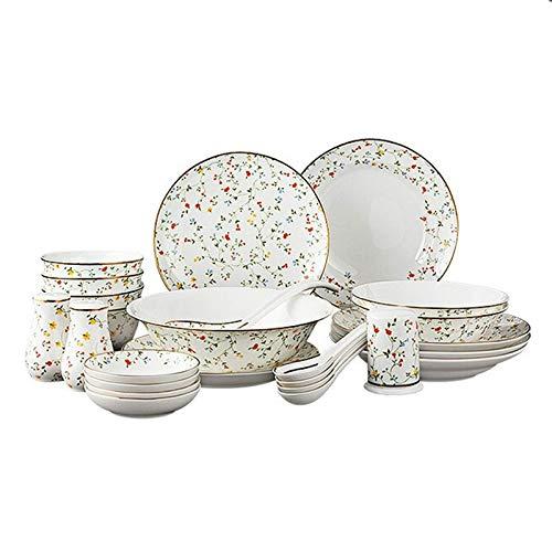 ZJZ Juego de vajilla de cermica, 25 Piezas Juegos de vajilla de Porcelana de Hueso para Regalos de Boda Tazn de Sopa de Porcelana de Estilo Rural Platos de Carne y Cuencos de Cereales