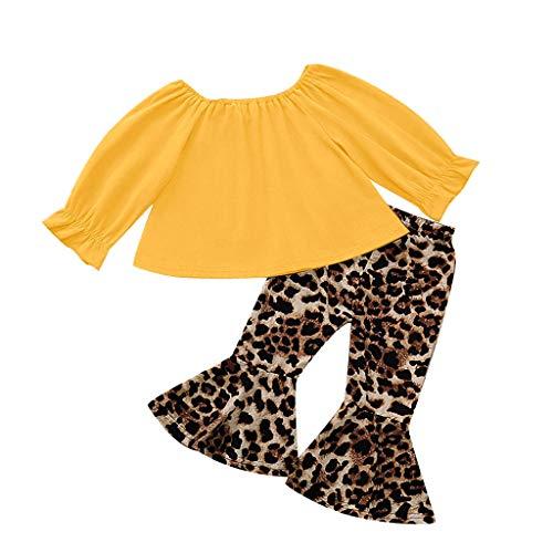 BUKINIE 2PCS Ensemble de vêtements Little Kids T-Shirt de Culture bébé Fille à Manches Longues + Pantalon évasé à imprimé léopard(Jaune,3-4 Ans)