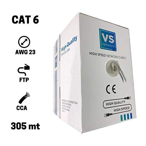 VS Network 305 Metri Cavo di Rete Ethernet 305m | CAT6, FTP, CCA, RJ45 | Bobina di Rete | Schermato Gigabit 10/100/1000 Mbps LAN Ethernet Grigio