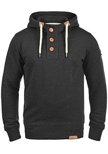 !Solid TripStrip Herren Kapuzenpullover Hoodie Pullover Mit Kapuze Knopfleiste Und Fleece-Innenseite, Größe:L, Farbe:Dark Grey Melange (8288)
