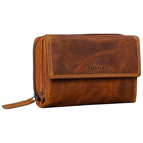 STILORD \'Thea\' Monedero de Mujer Billetera RFID Cuero Grande Wallet Vintage con Protección NFC Billeteras con Cremallera en Caja de Regalo Piel Genuina, Color:luino - marrón