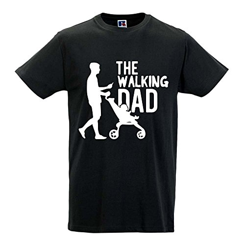T Shirt Maglia Maglietta Idea Regalo per Il Papa' The Walking Dad L Nera