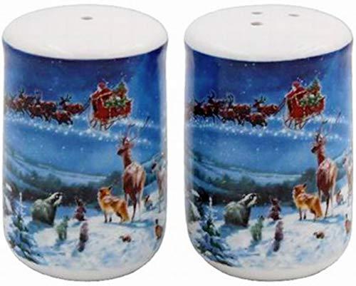 The Leonardo Collection LP51566 Magic of Xmas Salt & Pepper Shakers Set, Fine China, 5x5x7cm, Multicolour