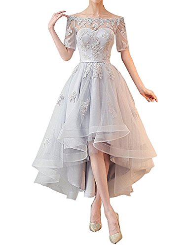NOVIA Women's Off The Shoulder High Low Evening Prom Dresses 1/2 Sleeves Vintage Bridesmaid Gown Silver Size 6
