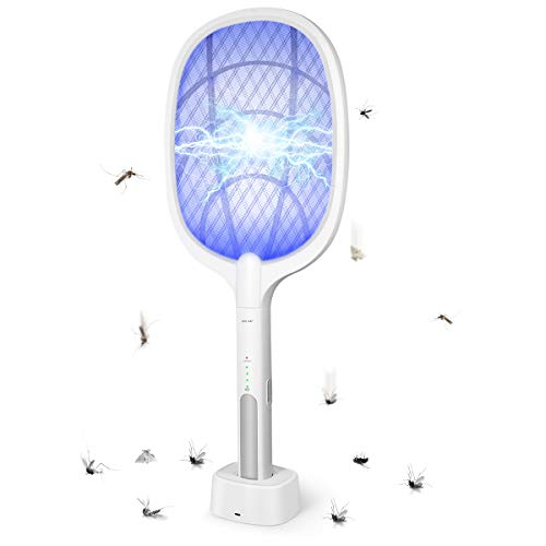 Bug Zapper, Mosquito Killer USB Rechargeable Electric Fly Swatter and Bug Zapper Racket, Handheld Fly Zapper for Home and Outdoor Safe to Touch with 3-Layer Safety Mesh