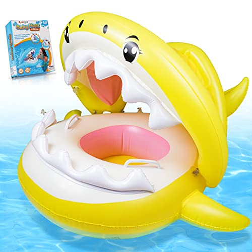 Baby Pool Float Swimming Float with Canopy Inflatable Floatie Swim Ring for Kids Aged 9-36 Months Children's Day Gift (Yellow)