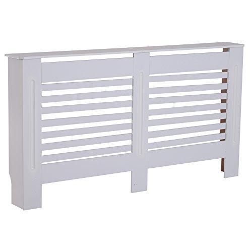 HOMCOM MDF Radiator Cover Wooden Cabinet Shelving Home Office Vertical Slattted Vent White 172L x 19W x 81H
