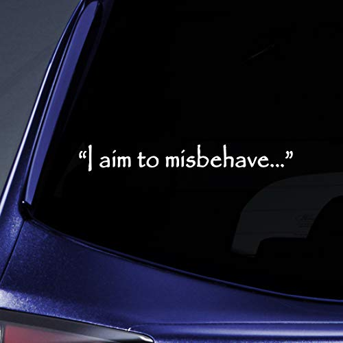 """Bargain Max Decals - I Aim to Misbehave Quote Firefly Sticker Decal Notebook Car Laptop 8"""" (White)"""