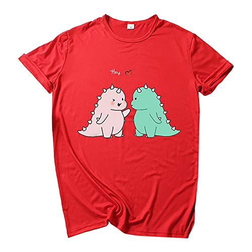 WAo Camiseta Kawaii para mujer, lindo dinosaurio, adolescente, niña, camiseta para mujer, anime, impresión 3D, camiseta de verano, moda otoño, manga corta Vino XL