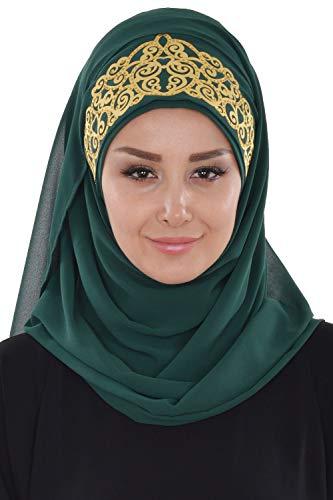Shawl for Women Chiffon Modesty Turban Cap Head Wrap Instant Scarf Dark Green