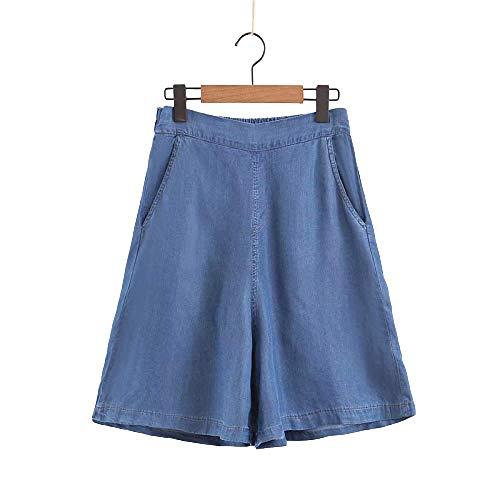 Después de la Cintura elástica de Verano Pantalones de Falda de Mezclilla Suelta Moda Femenina con Bolsillo Mini Pantalones Cortos de Falda Salvaje