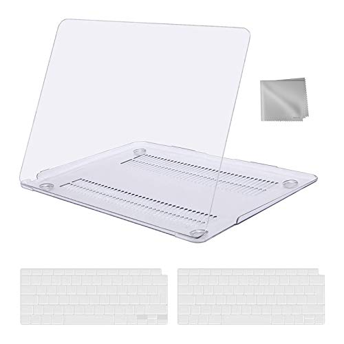 MOSISO Hülle Koffer Kompatibel mit 2020 2019 2018 MacBook Air 13 Zoll A2337 M1 A2179 A1932,Plastik Hartschale&Tastaturschutz&Tuch Abwischen Kompatibel mit Mac Air 13 Retina Display,Kristall Klar
