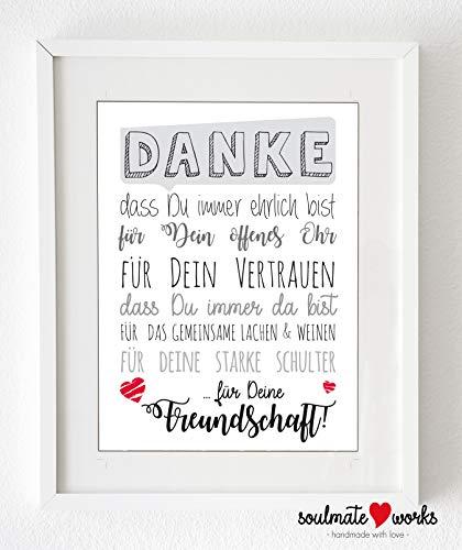 """Kunstdruck für Deine beste Freundin\""""Danke für Deine Freundschaft\"""" (nur Druck - ohne Rahmen)"""