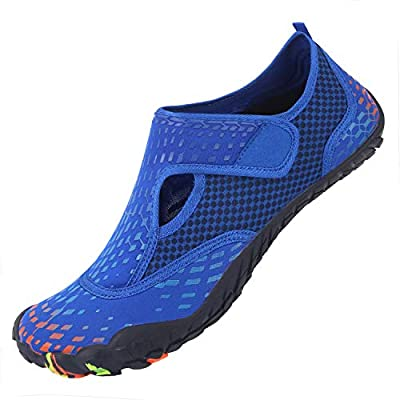 L-RUN Men Summer Swim Shoes Athletic Beach Pool Shoes Outdoor Blue Women 9, Men 7.5 M US