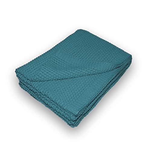 Traumhaft gut schlafen Strickdecke in sechs modernen Uni-Farben, Farbe Petrol