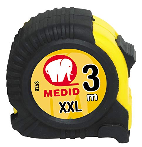 Medid MD/9253 Flexómetro con funda de goma, 3 m x 25 mm