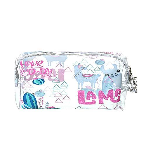 Drawihi Sac Organisateur Trousse Sac à stylos Licorne Dessin animé transparent Trousses de Toilette Maquillage Sac Bande Waterproof Cosmétique Cas de Toilette Voyage(Alpaga)