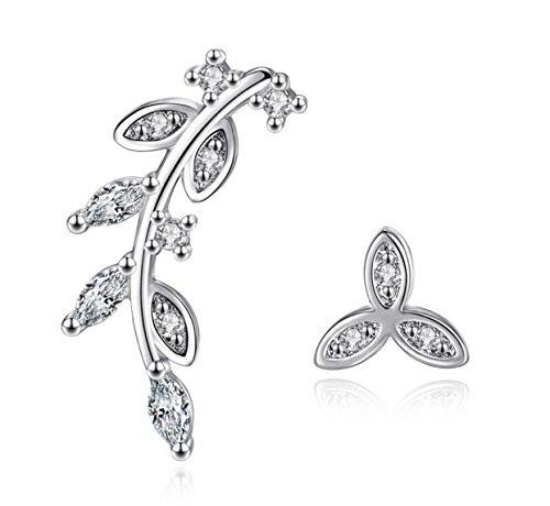 iszie - Pendientes tipo ear cuff de plata de ley y cristal de talla marquise.