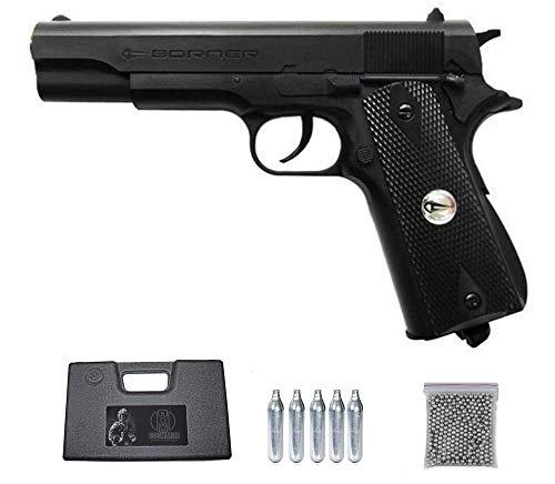 CLT125 BORNER Pack Pistola de balines (perdigones Bolas de Acero BB's). Arma de Aire comprimido CO2 4,5mm. Réplica Tipo Colt 1911. Potencia: 2.86 Julios