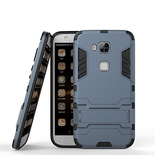 Huawei G7 Plus Hülle,Huawei G8 Hülle, MHHQ Hybrid 2in1 TPU+PC Schutzhülle Rugged Armor Case Cover Dual Layer Bumper Backcover mit Ständer für Huawei G7 Plus / G8 / GX8 -Black Plus Gray
