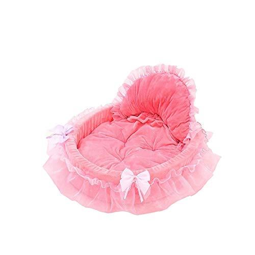 Cama para perro, sofá de lujo con encaje, gato, manta bonita para perros pequeños, medianos y cachorros, chihuahua, -Pink-46 x 43 cm