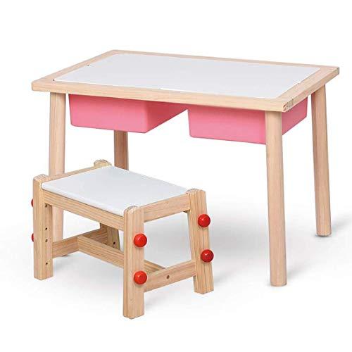 AJH Kinder-Massivholz-Studiertischset, höhenverstellbarer Kinderstuhl, Kindertisch mit Aufbewahrungsbox, ideal für Kinderzimmer, Spielzimmer und Wohnzimmer