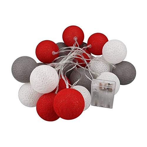 Lichterkette Cotton Ball, DOTBUY Baumwollkugeln Batteriebetrieben Lichterketten Kugel Dekoration Licht für Party Hochzeit Feier Weihnachten Nachtlicht Deko (Strahlend,4.8M/30LED)
