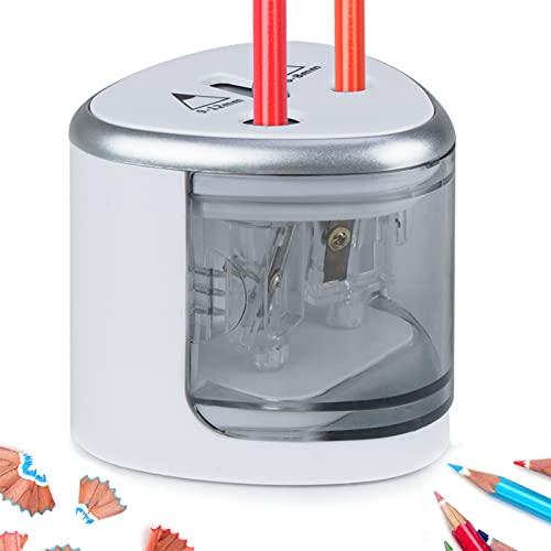 Sacapuntas electrico automático,MEIDI profesional sacapuntas con deposito niños para lapiz triangular doble agujero pencil sharpener